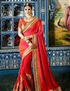image of Pink And Red Color Party Wear Satin And Georgette Saree With Embroidered Blouse