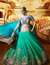 photo of Designer Party Wear Stylish Cyan Color Saree In Satin And Georgette Fabric