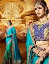 image of Designer Party Wear Stylish Cyan Color Saree In Satin And Georgette Fabric