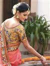 photo of Peach Color Wedding Wear Embroidered Saree With Fancy Fabric Unstitched Designer Blouse