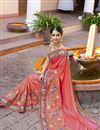 picture of Peach Color Wedding Wear Embroidered Saree With Fancy Fabric Unstitched Designer Blouse