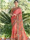 image of Peach Color Wedding Wear Embroidered Saree With Fancy Fabric Unstitched Designer Blouse