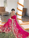 picture of Pink Color Wedding Wear Designer Satin Silk Fabric Embroidered Saree