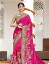 image of Pink Color Wedding Wear Designer Satin Silk Fabric Embroidered Saree