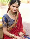 photo of Blue And Red Color Wedding Wear Designer Satin Silk And Crepe Silk Fabric Embroidered Saree