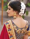 picture of Soothingly Embroidered Satin Silk And Crepe Silk Fabric Bridal Wear Designer Blue And Red Color Saree