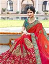 image of Wedding Wear Georgette Fabric Red And Orange Color Embroidered Saree With Unstitched Designer Blouse