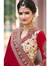 photo of Georgette And Khadi Silk Fabric Wedding Wear Marvelous Red And Cream Color Designer Saree With Embroidery Work