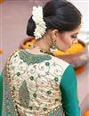 picture of Green And Cream Color Wedding Wear Designer Georgette And Khadi Silk Fabric Embroidered Saree