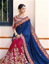 photo of Soothingly Embroidered Crepe Silk And Georgette Fabric Bridal Wear Designer Blue And Pink Color Saree