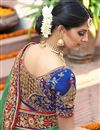 picture of Georgette Fabric Wedding Wear Marvelous Green Color Designer Saree With Embroidery Work