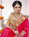 photo of Pink Color Wedding Wear Embroidered Saree With Fancy Fabric Unstitched Designer Blouse