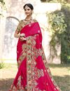 image of Pink Color Wedding Wear Embroidered Saree With Fancy Fabric Unstitched Designer Blouse