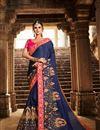 image of Fancy Party Wear Saree In Art Silk Navy Blue
