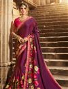 image of Art Silk Sangeet Ceremony Wear Purple Embellished Saree With Heavy Blouse