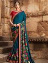 image of Eid Special Designer Wedding Wear Art Silk Teal Fancy Saree With Embroidered Blouse