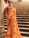 image of Party Wear Fancy Mustard Designer Saree In Art Silk