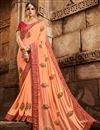 image of Function Wear Salmon Color Art Silk Designer Saree With Fancy Blouse