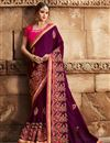 image of Purple Sangeet Ceremony Wear Art Silk Embellished Saree With Heavy Blouse