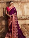 image of Eid Special Party Wear Fancy Dark Magenta Designer Saree In Art Silk