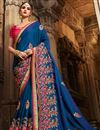 image of Designer Wedding Wear Navy Blue Art Silk Fancy Saree With Embroidered Blouse