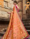 photo of Function Wear Art Silk Orange Designer Saree With Fancy Blouse