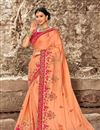 image of Eid Special Peach Wedding Wear Art Silk Designer Saree With Embroidered Blouse