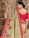 photo of Eid Special Wedding Wear Art Silk Cream Designer Saree With Heavy Blouse