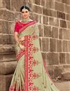 image of Eid Special Wedding Wear Art Silk Cream Designer Saree With Heavy Blouse