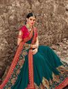image of Eid Special Art Silk Sangeet Wear Teal Embroidered Saree With Fancy Blouse