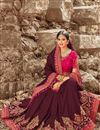 image of Function Wear Wine Art Silk Designer Saree With Embroidered Blouse