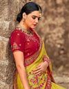 photo of Art Silk Wedding Wear Green Designer Saree With Embroidered Blouse