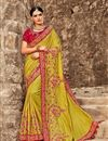 image of Art Silk Wedding Wear Green Designer Saree With Embroidered Blouse