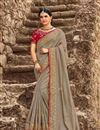 image of Eid Special Grey Wedding Wear Art Silk Saree With Fancy Embroidered Blouse