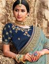 photo of Blue Sangeet Wear Art Silk Embroidered Saree With Fancy Blouse
