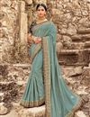 image of Blue Sangeet Wear Art Silk Embroidered Saree With Fancy Blouse