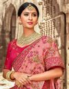photo of Reception Wear Designer Art Silk Pink Saree With Embroidered Blouse