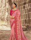 image of Reception Wear Designer Art Silk Pink Saree With Embroidered Blouse