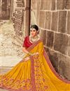 photo of Eid Special Mustard Sangeet Wear Art Silk Embroidered Saree With Fancy Blouse