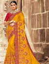 image of Mustard Sangeet Wear Art Silk Embroidered Saree With Fancy Blouse