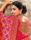 photo of Eid Special Reception Wear Designer Art Silk Rani Color Saree With Embroidered Blouse