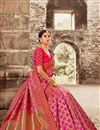 image of Eid Special Reception Wear Designer Art Silk Rani Color Saree With Embroidered Blouse