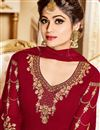 photo of Shamita Shetty Red Embroidered Fucntion Wear Anarkali Suit In Georgette In Plus Size