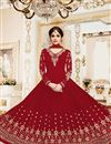 image of Shamita Shetty Red Embroidered Fucntion Wear Anarkali Suit In Georgette In Plus Size
