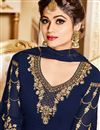 photo of Shamita Shetty Georgette Designer Embroidered Anarkali Salwar Suit In Navy Blue In Plus Size