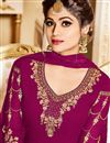 photo of Shamita Shetty Dark Pink Georgette Occasion Wear Anarkali Dress With Embroidery