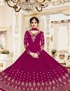 image of Shamita Shetty Dark Pink Georgette Occasion Wear Anarkali Dress With Embroidery In Plus Size