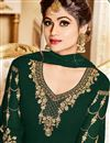 photo of Shamita Shetty Dark Green Embroidered Party Wear Anarkali Dress In Georgette In Plus Size