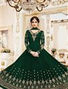 image of Shamita Shetty Dark Green Embroidered Party Wear Anarkali Dress In Georgette In Plus Size