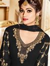 photo of Shamita Shetty Black Georgette Embroidered Function Wear Anarkali Dress In Plus Size